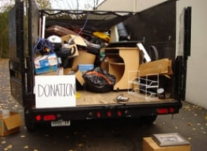 Junk removal truck with donation items