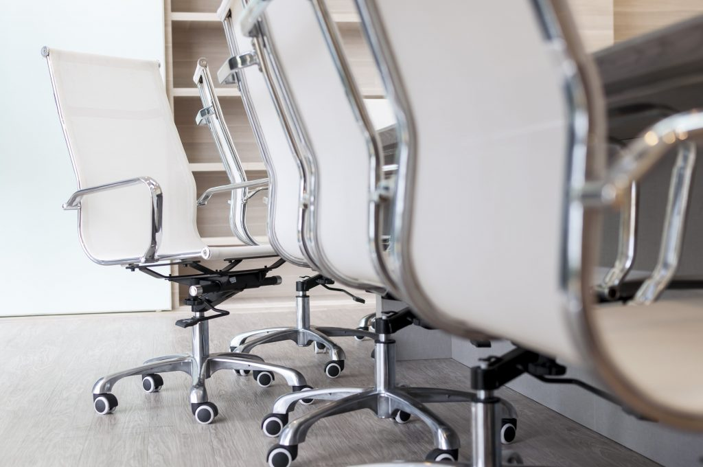 Row of office chairs for office furniture removal